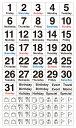 貼るだけでバレットジャーナルが簡単に作れる!1日が金曜日から始まる月のデイリーログが作れる、日付と曜日を組み合わせたマスキング素材のシールです。3000円以上お買い上げで送料無料! ベーシック・デイリー・金曜始まり