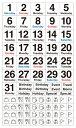 貼るだけでバレットジャーナルが簡単に作れる!1日が土曜日から始まる月のデイリーログを作れる、日付と曜日を組み合わせたマスキング素材のシールです。3000円以上お買い上げで送料無料! ベーシック・デイリー・土曜始まり