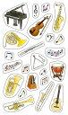 バレットジャーナルで使えるマスキングシール、楽器をモチーフとしたデコレーションシールです。3000円以上お買い上げで送料無料! デコレーション・楽器