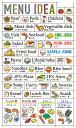 バレットジャーナルで使えるマスキング素材のデコレーションシール。料理メニューのアイデアをカテゴリー毎にまとめて…