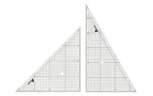 シンワ測定 77062 三角定規 アクリル製 30cm 方眼目盛付 2枚組