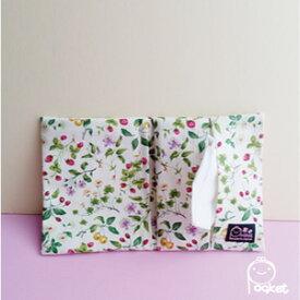 かわいい ティッシュポーチ【イチゴと野花 レッド】マスクポーチいちご・花柄
