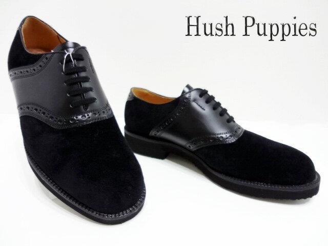 【スペシャル価格】Hush Puppies(ハッシュパピー)M-184FX/ブラック【送料無料】メンズコンフォートシューズ /サドルシューズ/カジュアル/撥水加工/ピックスキン