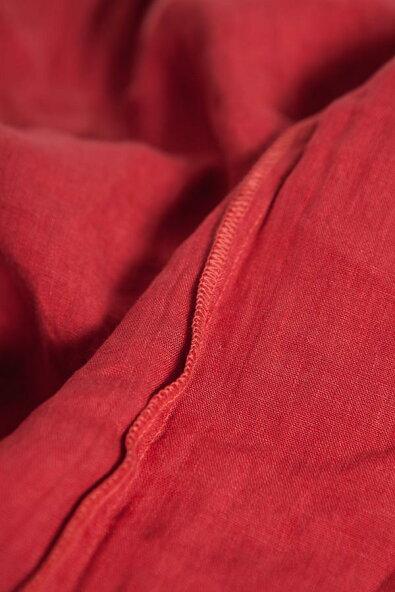【全2色】ワンピースロングワンピースレッド赤色7分袖七分袖胸元袖襟刺繍レース見せリネン100%麻100%ヘンプ100%天然素材シンプル無地大きめモチーフゴージャスエレガントセレブ愛用春夏春夏春服夏服