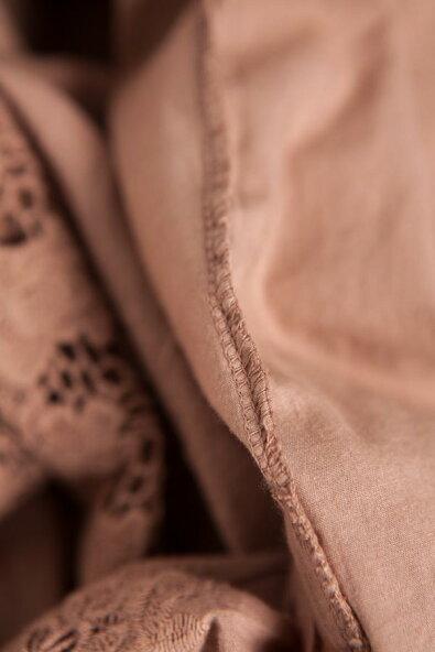 【全4色】ワンピースロングワンピースブラウン茶色半袖フード付き刺繍レースコットン100%綿100%天然素材全身袖襟裾見せゴージャスエレガントセレブ愛用春夏春夏春服夏服