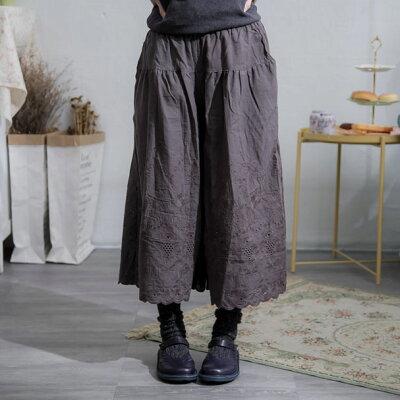 【インナー】【050034】7分丈刺繍レースコットンペチパンツ