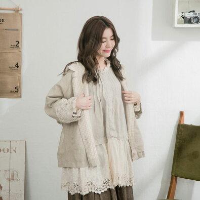 【054001】【フード付き】7分袖刺繍レースリネンコート【ダッフルコート】
