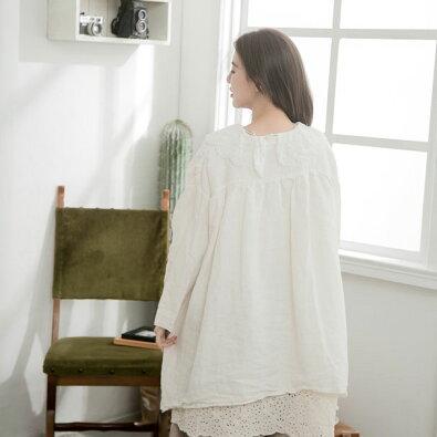 【054006】7分袖刺繍レースリネンブラウス