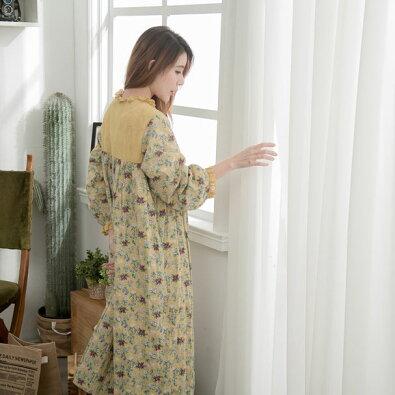 【054015】7分袖小花柄刺繍レースロングワンピース