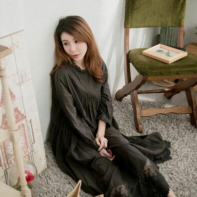【054016】【インナー】7分袖刺繍レースコットンロングペチワンピース