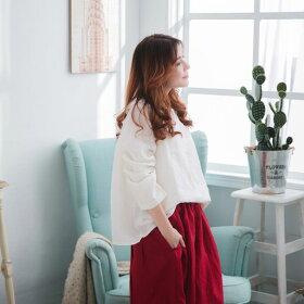 【055010】7分袖刺繍レースリネンブラウス
