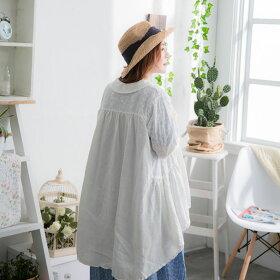 【056017】7分袖刺繍レースリネンコットンブラウス