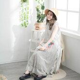 【056020】ノースリーブ刺繍レースコットンポリエステルロングワンピース