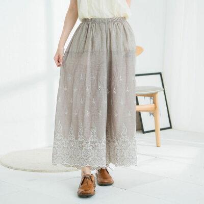 【058011】【インナー】刺繍レースリネンロングペチパンツ