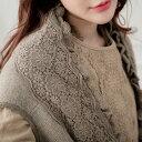 【WinterA】【059025】 刺繍 レース ウール ニット ロング ベスト