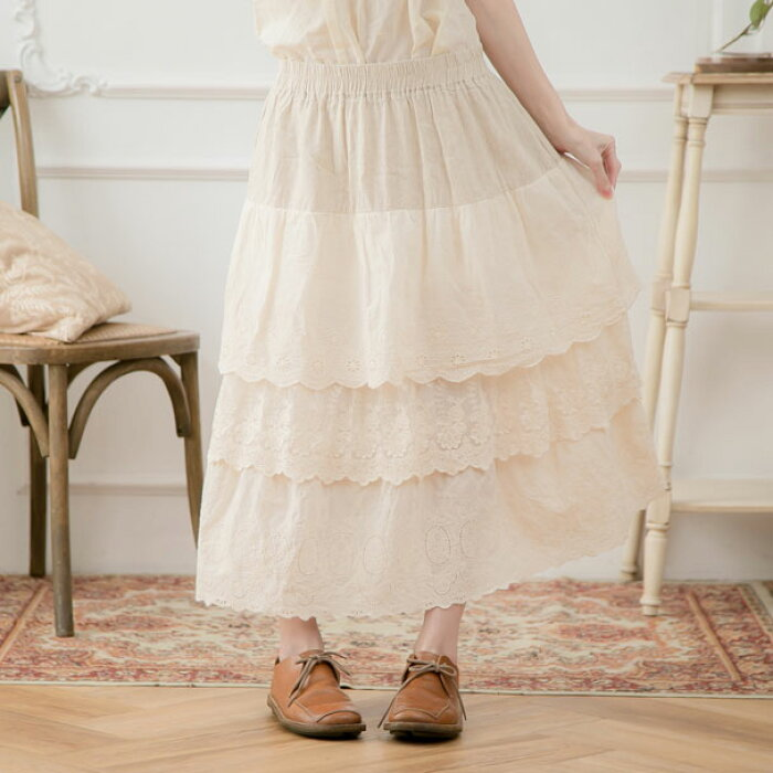 【059034】【ペチコート】【インナー】刺繍レースコットンロングペチスカート