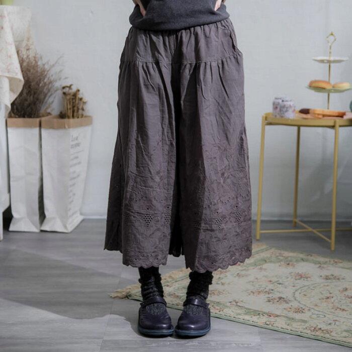 【インナー】【059042】7分丈刺繍レースコットンペチパンツ