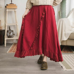 【060007】刺繍レース起毛コットンロングスカート