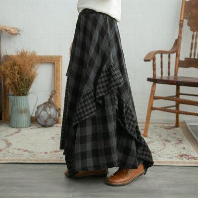 【061007】コットンチェック柄ロングスカート