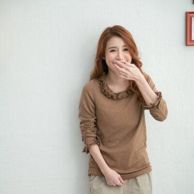 【061016】長袖刺繍レースコットンカットソー