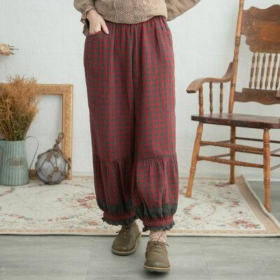 【061018】9分丈刺繍レースギンガムチェック柄コットンサルエルパンツ