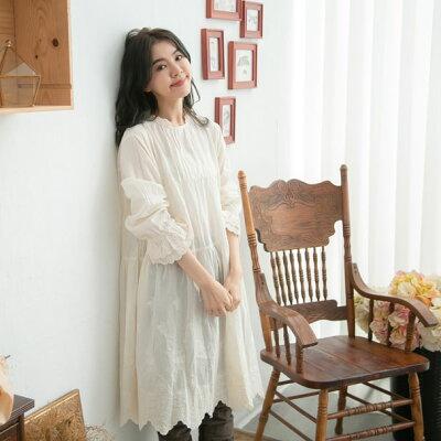 【061025】長袖刺繍レースコットンミディアムワンピース