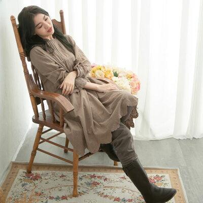 【061026】長袖刺繍レースコットンミディアムワンピース