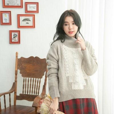 【061036】長袖刺繍レースウールニットセーター