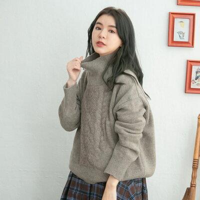 【061037】長袖刺繍レースウールニットセーター