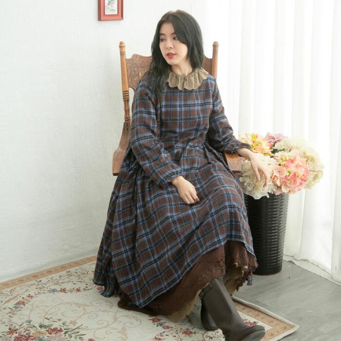 【061039】【2in1】長袖刺繍レースチェック柄起毛コットンロングワンピース