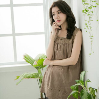 Prevention of tops blouse cotton Lady's inner petticoat no sleeve tank top light brown weak powdered tea embroidery race transparency plain fabric petticoat blouse cotton 100% cotton 100% nature material