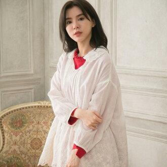 顶端女衬衣亚麻布女士7分袖灰白白刺绣比赛素色7分袖亚麻100%亚麻布100%天然材料