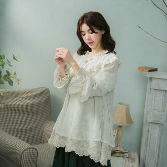 << summer percent 50 >> tops blouse cotton polyester Lady's long sleeves ecru thin yellow embroidery race plain fabric cotton cotton