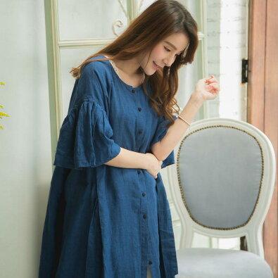 ワンピースリネンレディースロング半袖ブルー青ロングワンピース無地麻100%リネン100%天然素材