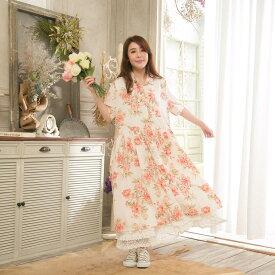 《梅雨30》 ワンピース リネン レディース カシュクール 花柄 ロング 半袖 オフホワイト 白 ロングワンピース 花柄 麻100% リネン100% 天然素材