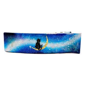 メール便可手描きアートヘアクリップ黒猫と月〜星に願いを〜マコズアトリエ[樹脂ハンドメイドアクセサリージュエリー手描きhandmaderesinクリスタルアートくりすたるあーと]