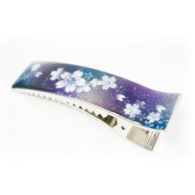 マコズアトリエ ハンドメイド 手描き 和柄 ヘアクリップ 青桜 レディース スクエア 大サイズ