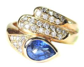 【ポイント15倍】 ノンブランド リング 指輪 ダイヤモンド サファイヤ K18YG 750 18金 イエローゴールド 12号相当 美品 女性用 レディース 【中古】