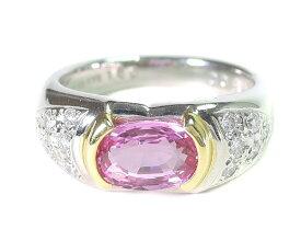 【ポイント15倍】 ノンブランド リング 指輪 ピンクサファイア ダイヤモンド Pt900 プラチナ K18YG 750 18金 イエローゴールド 中宝ソーティング付 11号相当 レディース 【中古】