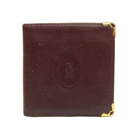 カルティエ Cartier 二つ折り財布 マストライン コンパクトウォレット 財布 レザー ボルドー 小物 レッド ゴールド金具 メンズ 【中古】