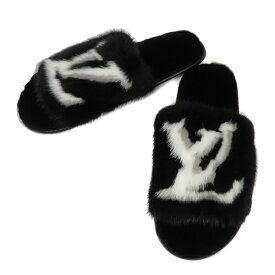 ルイヴィトン LOUISVUITTON 靴 LVイニシャル ホーミー・ライン ミュール ブラックXホワイト 1A5SZI メンズ レディース ユニセックス 定番 人気 美品【箱】 【中古】