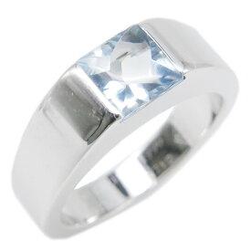 カルティエ Cartier リング 指輪 タンクリング K18WG アクアマリン ホワイトゴールド×アクアマリン 750WG 18金 10号 #50 メンズ レディース ユニセックス定番 人気 美品 【中古】