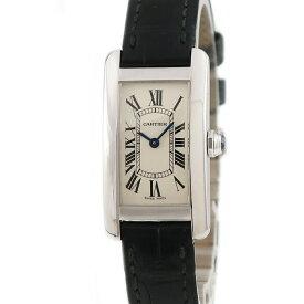 カルティエ Cartier タンクアメリカン SM W2601956 K18WG無垢 レディース 腕時計クオーツ ベージュ 【中古】【店頭受取対応商品】