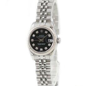 ロレックス ROLEX デイトジャスト 179174G 純正ダイヤ ランダム番 レディース 腕時計自動巻き ブラック 【中古】【店頭受取対応商品】