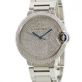 カルティエ Cartier バロンブルー MM OH済 ダイヤ レディース 腕時計自動巻き シルバー 【中古】【店頭受取対応商品】