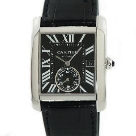 カルティエ Cartier タンク MC LM W5330004 角型 黒 ギョーシェ メンズ 腕時計自動巻き ブラック 【中古】【店頭受取対応商品】