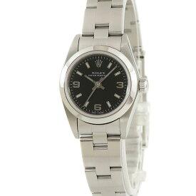 ロレックス ROLEX オイスターパーペチュアル 76080 黒 アラビア レディース 腕時計自動巻き ブラック 【中古】【店頭受取対応商品】
