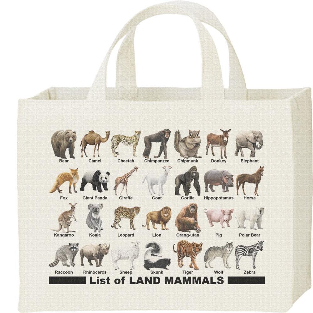 陸上 哺乳類のリスト/キャンバスバッグ・スクエア