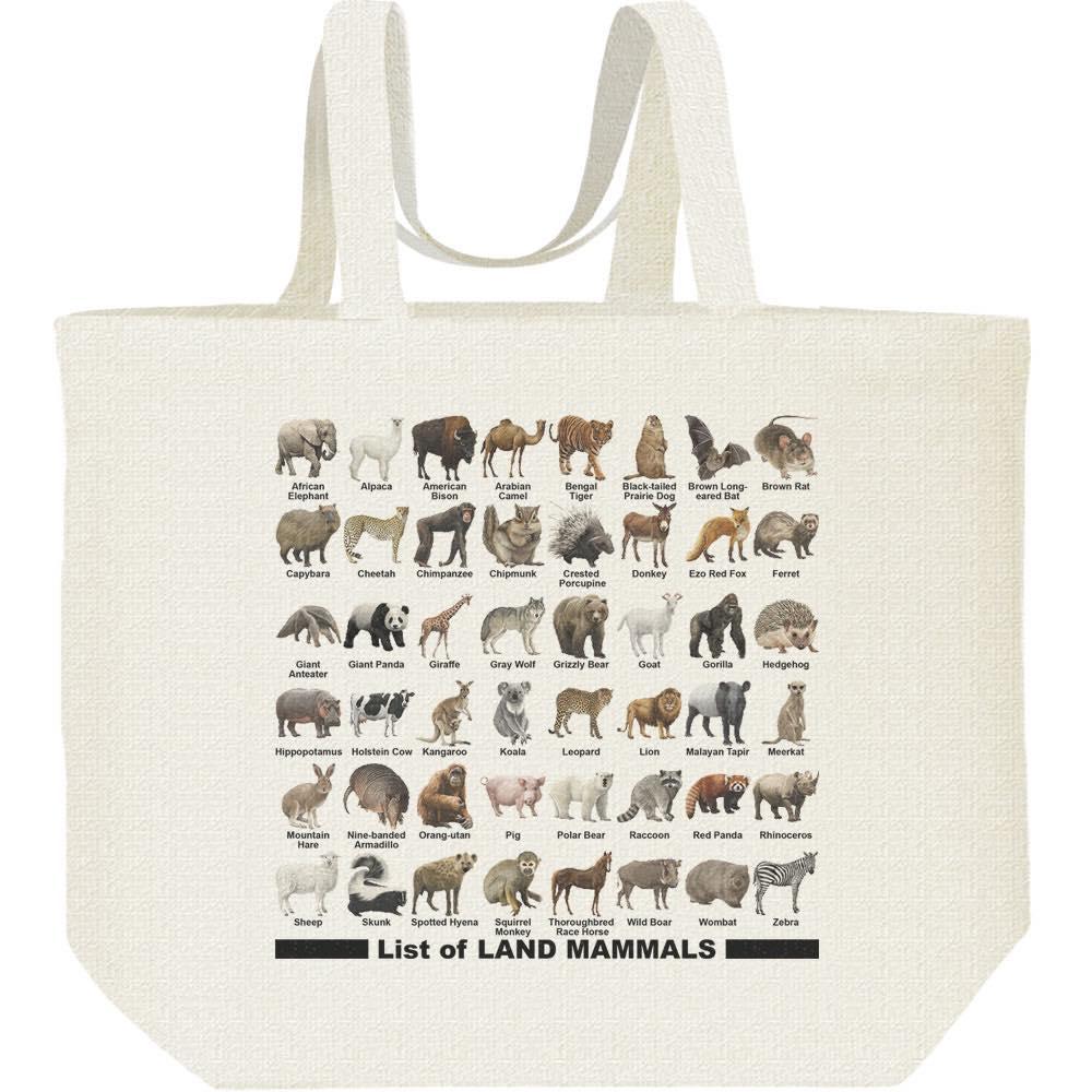陸上 哺乳類のリスト/キャンバスバッグ・L(エコバッグ)