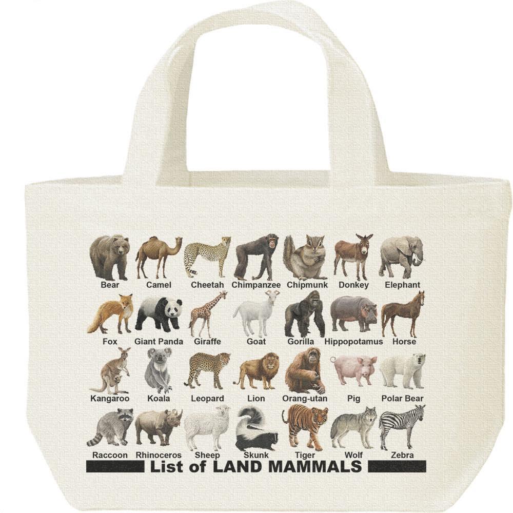 陸上 哺乳類のリスト/キャンバスバッグ・S(ランチバッグ)